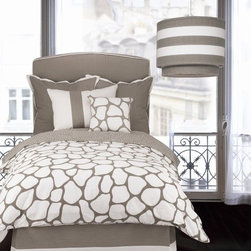 """Oilo - Cobblestone Duvet in Taupe - Features: -Includes one Duvet. -6-inch Inner Ties for Securing Comforter. -Zippered Duvet Cover. -300-Thread Count Sateen Duvet Cover. -Available in Twin and Full / Queen sizes. -Made in USA. Specifications: -Twin duvet dimensions: 86"""" H x 68"""" W. -Full / Queen duvet dimensions: 86"""" H x 86"""" W."""