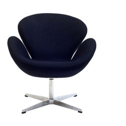 Arne Jacobsen Style Swan Chair in Black - In every sense of the word the Swan Chair is a true classic that will never go out of style. The chair was designed in 1958 and was developed for the lobby and reception areas at the Royal Hotel in Copenhagen, and Poly+Bark's Replica is of the highest quality.