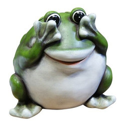 Alpine - Peek-a-boo Frog Statue - 9 inch - Features:Dimensions: