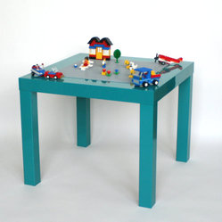 Lego Table, High-gloss Turquoise by Vine Street Maker