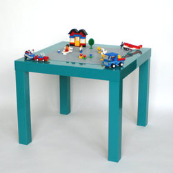 Lego Table, High-gloss Turquoise by Vine Street Maker - You know you've reached the height of coordination when even your Lego table matches the decor! This is a hand-painted turquoise table with a gray Lego plate mounted on top for endless fun.