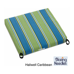 Blazing Needles - Blazing Needles Patterned All-weather Outdoor Rocker Chair Cushion - These 2-pound outdoor rocker cushions are made of spun polyester outdoor fabric with a Dacron polyester fill and a zipper closure. It is weather-resistant and UV-protected, so it's great for outdoors. It's available in multiple colors and patterns.