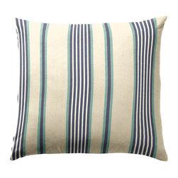 "Blue & Aqua Striped Throw Pillow - Loom Decor Simple Throw Pillow 18"" in Walk The Line."