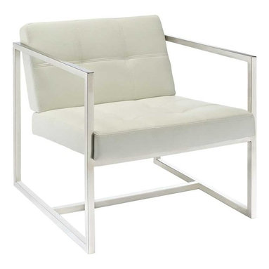 Modway - Hover Lounge Chair in White - Embrace mid-century elements with this welcoming reception seating chair. Hover is a modern chair, but not for the typical reasons. Its padded vinyl buttoned seat and back, and geometric stainless steel frame, truly develop space and form in an innovative way. Hover is perfect both for those offices looking to impress new clients, and for anyone who ever dreamed of stationary flight.