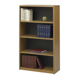 Safco - Value Mate Steel Bookcase w 4 Shelves in Medium Oak - Whether it finds a home in an office, conference room or storage area, this versatile bookcase will be a dynamic choice well suited to a wide range of uses. Made of steel in medium oak powder coat finish, the bookcase has four shelves and is sized to hold binders, research materials and decorative objects. Accommodate 3-ring binders and large publications. Generous 12 in. deep shelves. 24 ga. material thickness. Adjustable shelf with 1 in. increment. Shelf capacity 70 lbs.. Back is made of solid fiberboard. Made from steel. Powder coat finish. 31.75 in. W x 13.5 in. D x 54 in. H (36 lbs.). Assembly InstructionEconomical, sturdy and strong with the ValueMate Bookcases you can't go wrong! Exquisitely showcase photographs, keepsakes, literature and resources - and these shelves are perfect for larger publications and 3-ring binders! Make it functional or fun for your executive office, conference room, meeting areas, reception areas, waiting room, library, media center, sales offices and even your home office. These beautifully designed bookcases add the little extra that your workspace needs.