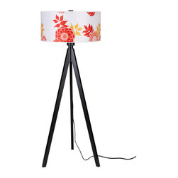 Lights Up! - Woody Floor Lamp -Wood Black Base, Anna Red - - Wattage: 150