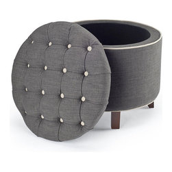 Reims Grey Storage Ottoman - I'm in love with the tufting on this ottoman. I would keep my blankets inside it for easy access.