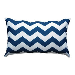 Pillow Decor - Pillow Decor - Chevron Bold Blue Throw Pillow 12X20 - This dynamic Chevron Bold Blue 12X20 Throw Pillow will freshen up your interior with its classic navy blue coastal style. A perfect pillow to add a splash of nautical character to your decor or to give as a gift to an ocean lover. Printed on an indoor outdoor spun polyester fabric.