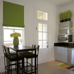 Roman Shade in Lime Green for San Francisco Kitchen - Roman shade or blind for a modern San Francisco Kitchen in lime green with white and black accents.