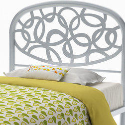 Amisco - Modern Headboard in Textured Silver (Full) - Choose Size: FullMade from metalAlba bed delicate curves are like a breath of fresh air in your bedroom. Dawn becomes the peaceful moment where you imagine yourself in nature, listening to the sound of water dripping on river pebbles.