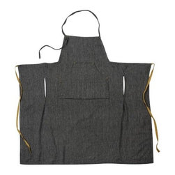 Sir|Madam - Black Herringbone Grand Apron (Set of 2), Black, Herringbone - With thoughtful details like unlacquered brass rivets and four waist-level compartments to keep all of your necessities close at hand, Sir|Madam's aprons are such a pleasure to wear you just might be tempted to leave the house in them. The full-scale Grand Apron features an adjustable neck loop and clever side-vents that allow easy access to pockets. It is made of a linen-cotton blend and given a soft wash for added comfort. Comes in a set of 2 aprons.   About the Artist: With a strong focus on domesticity and entertaining, Sir|Madam evokes classic motifs and historical references in an easy, modern way. Many designs are inspired through travels, coastal themes, or historical influences. The products are designed to be timeless, and to marry well with a range of styles in today's eclectic interiors.    Product Details: