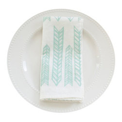 Arrows Napkin Set, Pale Blue - This 100% organic linen napkin set is uniquely hand designed, printed and sewn to bring joy and color to your table.
