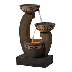 """Lamps Plus - Veneto Two-Tier Indoor/Outdoor Fountain - The Veneto standing floor fountain is named for it's rich Italian style. The tiered design features two basins atop curved arms with spouts that send water from one basin to the next for a handsome waterfall effect. Geometric lattice circle design is a classic element that offers timeless style. This indoor or outdoor fountain is constructed from polyresin making it extremely lightweight and easy to position before filling with water. Tiered fountain. Lightweight polyresin construction. Includes a 5 watt halogen bulb. Indoor or outdoor use. 120 volts. 29"""" high. 19"""" wide. 12 1/2"""" deep.  Tiered fountain.  Lightweight polyresin construction.  Indoor or outdoor use.  Comes with water pump.  120 volts.  Includes a 5 watt halogen bulb.  29"""" high.  19"""" wide.  12 1/2"""" deep."""
