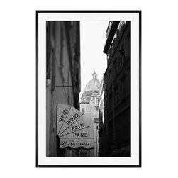 """Michal Venera Framed Print, Streets of Rome I, Mat, 28 x 42"""", Black - On first glance, these iconic images of Rome are striking for their lush sepia tones, rich detail and intriguing camera angles. A closer look reveals the beauty of patterns, whether it is hundreds of stones that make up an old street, arches in the coliseum or the remaining three columns of a ruin. All exude a sense of order and timelessness amid the ever-changing landscape of city and country. 11"""" wide x 13"""" high 16"""" wide x 20"""" high 28"""" wide x 42"""" high Alder wood frame. Black or white painted finish; or espresso stained finish. Beveled white mat is archival quality and acid-free. Available with or without a mat.{{link path='shop/accessories-decor/pb-artist-gallery/artist-gallery-michal-venera/'}}Get to know Michal Venera.{{/link}}"""
