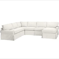 """PB Basic Left 4-Piece Chaise Sectional Slipcover, Twill White - Designed exclusively for our PB Basic Sectional, these easy-care slipcovers have a casual drape, retain their smooth fit, and remove easily for cleaning. Select """"Living Room"""" in our {{link path='http://potterybarn.icovia.com/icovia.aspx' class='popup' width='900' height='700'}}Room Planner{{/link}} to select a configuration that's ideal for your space. This item can also be customized with your choice of over {{link path='pages/popups/fab_leather_popup.html' class='popup' width='720' height='800'}}80 custom fabrics and colors{{/link}}. For details and pricing on custom fabrics, please call us at 1.800.840.3658 or click Live Help. All slipcover fabrics are hand selected for softness, quality and durability. {{link path='pages/popups/sectionalsheet.html' class='popup' width='720' height='800'}}Left-arm or right-arm configuration{{/link}} is determined by the location of the arm on the love seat as you face the piece. This is a special-order item and ships directly from the manufacturer. To view our order and return policy, click on the Shipping Info tab above."""