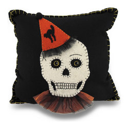Zeckos - Bethany Lowe Clown Skull Fancy Party Skeleton Black Wool Halloween Throw Pillow - Add a Gothic fun accent to your home, the room and Halloween decor with this 14 inch by 14 inch (36 X 36 cm) throw pillow by Bethany Lowe designs. It adds a touch of Folk Art style perfect for highlighting the couch, chair, your bed or even a shelf. Made with a 100% wool covering and filled with 100% polyester fiber, this decorative black pillow features a fancy party skull wearing an orange clown hat and a tulle ruff, the edges are stitched with a heavy contrasting thread, and it's recommended to dry clean only. This accent pillow is great for Halloween, and makes a wonderful gift any skull enthusiast is sure to admire!