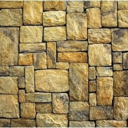 Tan Stone Wallpaper - Why paint when you can make your own one of a kind stone wall, with no paste.