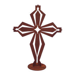 Z Garden Party, Inc. - Royal Cross Garden Art Sculpture - The Royal Cross Garden Art sculpture was influenced by the designs of the knights. It is cut from heavy rusted steel and made in America. It is great addition for the yard or home. This design is by California artist Susan Regert.