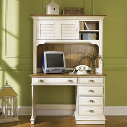 None - Liberty Ocean Isle Student Desk and Hutch Set - The Liberty Ocean Isle desk and hutch set creates a relaxed interior look that works for coastal styles, county and cottage interiors. A soft bisque finish combined with natural pine tops create a nice contrast accented with satin nickel hardware.