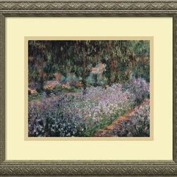 Amanti Art - Jardin a Giverny (Garden at Giverny) Framed Print by Claude Monet - Spring is in the air! Enjoy the blooms of Monet's stunning garden with this beautiful gallery-quality replica. The acrylic artwork is custom-framed in an embossed antique silver wood. Your room will glow all year-round with the warmth and color of springtime.