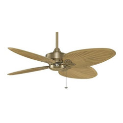 Fanimation - Fanimation Windpointe 4 Blade Unipack AB Ceiling Fan in Antique Brass - Fanimation Windpointe 4 Blade Unipack AB Model FP7410AB in Antique Brass with Sambel Sand Carved Wood Finished Blades.