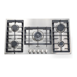 Verona 36-inch Designer Series Gas Cooktop - Verona 36-inch Designer Series Gas Cooktop in stainless steel.  Featuring 5 European sealed high btu gas burners, continuous cast iron grates and electronic ignition & re-ignition.