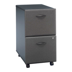 "Bush Business - File Cabinet w Fully Extendible Drawers - Ser - Add flexibility to organizational systems with castered vertical file cabinets.  Fully extendable drawers mean easy access even to rear hanging folders.  Slate gray fronts with a gang lock and black casing are compatible with any  office space or open environment.  The Series A Two Drawer Slate Rolling File feature a pair of capacious drawers with full-extension, ball-bearing slides for smooth operation and lasting durability.  This stylish file rolls on heavy duty casters and easily fits under desks to save space. * Two drawers hold letter- or legal-size files. One gang lock secures both drawers. Full-extension, ball-bearing slides. Fits under 36"", 48"", 60"" and 72"" Desks. Casters for easy mobility when loaded. 15.512 in. W x 20.276 in. D x 28.150 in. H"