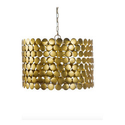 Worlds Away Parker Chandelier, Gold - Gold or silver leaf dot chandelier with three light cluster.