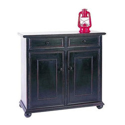 Wayborn - Jayson Cabinet in Black - You will think of so many uses for this exquisite Jayson storage cabinet in decorator style antique black finish.  Bun-foot design features roomy storage behind two closed doors, with two handy pull-out drawers above.  Great for kitchen, dining room, or hallway. 2 Drawers. 2 Doors. Behind doors: 1 shelf with a panel in the middle of it. Made from Pinus Sylvestris. Antique Smooth finish. Worn with Red undercoat. 38 in. W x 16 in. D x 35 in. H (61 lbs.)