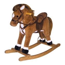 Charm Co. - Coffee Horse Rocker with Sound - The Coffee Horse rocker is the perfect playful pal for little riders. This adorable rocker features a warm coffee color with white accents and brown mane. It also offers soft fur and plush padding on the body and saddle for a comfortable ride. A soft cloth bridle and decorative metal stirrups add realism while smooth varnished handles and base provide a safe ride. Recommended for ages 3-6.Enjoy fun riding sound effects provided by two AA batteries (not included). Easy clean up with mild soap and water.