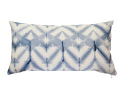 """The Tangled Path - Shibori Chevron Pillow in Indigo Blue - This 12""""x22"""" pillow cover was dyed using indigo blue fiber reactive dyes in the shibori dye-resist tradition and features the same chevron design on both sides."""