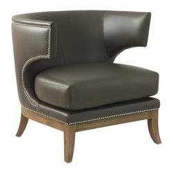 Kathy Kuo Home - Morris Hollywood Regency Modern Loft Leather Side Chair - The sumptuous leather of this ultra-modern accent chair wraps around you like a bear hug (from the hippest, coolest bear in the woods, that is). This accent chair features chrome studding all the way around its fabulous curves and a luxurious dark wood stain on its sweeping wooden legs. A decidedly contemporary silhouette for your urban loft or retro Hollywood home.