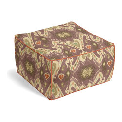 Purple, Taupe & Orange Ikat Custom Pouf - The Square Pouf is the hottest thing in decor since the sectional sofa. This bean bag meets Moroccan style ottoman does triple duty as a comfy extra seat, fashion-forward footstool, or part-time occasional table.  We love it in this colorful eclectic ikat cotton print in lilac with touches of mint, orange, & beige.
