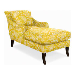 Charleston Chaise, Imperial Paisley Sun - This is my dream reading chair! The fabric is a bright contrast to a rich autumn palette, and I love the cozy look of the chaise. I would curl up with a knit throw during a chilly fall night with tea and a book.