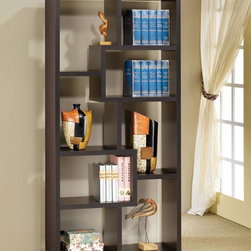 Coaster - Cappuccino Transitional Bookcase - These wall units can be used to dress up any wall with the look of interlocking shelves, which provide storage and display space in differently sized compartments. Finished in a black or cappuccino color.
