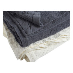 "Coyuchi - Stellar Weave Blanket King Charcoal - Plush organic cotton in a starry, pinwheel weave makes this blanket extra soft, weighty and snuggly.  Finished with a neat dobby border and 1.5"" mitered hem."