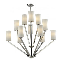 Twelve Light Chrome Matte Opal Glass Drum Shade Chandelier - This twelve lighy chandelier uses exquisitely designed, angled chrome arms to hold uniquely shaped, warm glowing matte opal shades. An exceptionally contemporary fixture, this fixture includes adjustable rods to ensure the perfect hanging height.