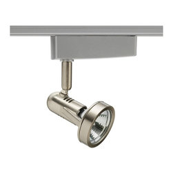 Juno - Juno Trac-Lites 50 Watt Chrome Trumpet Track Spotlight - Satin chrome finish gives a sultry look to this Juno Lighting spotlight for track systems. A miniature 12-volt solid state electrical transformer is included with this trumpet style satin chrome spotlight track head. Featuring a spring-loaded locking latch with embossed polarity arrows to secure light to a track. Capable of 90-degree aiming with a 358-degree rotation to direct the light where you want it. Precise spring action provided by copper alloy contacts and includes a ceramic bi-pin lamp socket. This chic design is compatible with Juno Lighting Trac-Lites and Trac-Master systems.