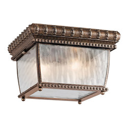 Kichler 2-Light Outdoor Fixture - Bronze Exterior - Two Light Outdoor Fixture An elegant bronze finish accentuates the beadwork and details of this lighting outdoor flush mount ceiling light. From the venetian rain collection, the look is completed with visually stunning vertical rain glass panels. 90 c wire rated.