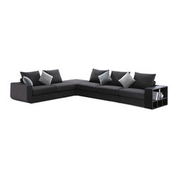 American Eagle Furniture - F8066 Grey Fabric Sectional Sofa With Built-in Shelf Unit - The F8066 sectional sofa has a stylish modern design that works with any decor and will have you relaxing in style. This sectional comes upholstered in a beautiful grey microfiber fabric. High density foam is placed within the cushions for added comfort. On the end of the sectional is a built-in storage shelf unit that adds to the versatility of the sofa. The coffee table shown is NOT included.
