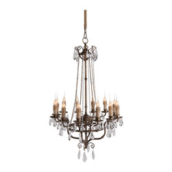Kathy Kuo Home - Roma Elegant Crystal Bead French Manor 12 Light Chandelier - With a Rustic Silver finish and crystal drops, the Roma Chandelier has true vintage charm. Meticulous details such as crystal beading and delicate Iron make this a beautiful chandelier.