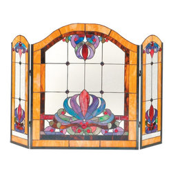 Dale Tiffany - Dale Tiffany Anemone Fireplace Screen X-1110SF - From the Anemone Collection, this Dale Tiffany fireplace screen is simple but visually stunning with its versatile design and vibrant colors. The marigold trim is complimented b shades of red, cobalt blue and deep lilac. The simple design is constructed of art glass and features jeweled accents for added appeal.