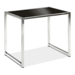 Office Star - Office Star Avenue Six Yield End Table in Chrome / Black Glass - Yield end table in chrome/Black glass