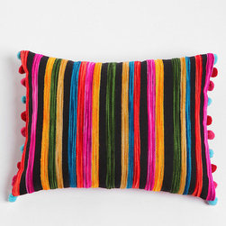 Embroidered Ikat Stripe Pillow - I love the idea of just two of these vibrant and exotic pillows brightening up a white sofa, perhaps in a room with chalkboard-painted walls.