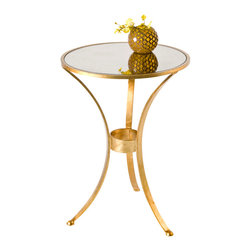 """Worlds Away - Worlds Away Three-Leg Round Side Table-Available in Two Different Colors, Gold - This simplistic and stylish table is perfect when you just need a small accent. The table features a three-leg style and an antique mirror top. It measures 18"""" in diameter X 25""""H. The table is available in Gold Leaf or Silver Leaf."""