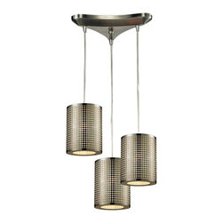 Elk Lighting - Lightgrid 3-Light Chandelier - This Lightgrid Pendant by Elk Lighting manipulates light through a laser cut pattern etched into the cylindrical, stainless steel shade. Providing ambient down light and finished in satin nickel, these light fixtures are ideal for any modern space. This mini pendant weighs ten (10) pounds and accepts three (3) 60 watt bulbs with a medium base. It includes six (6) feet of cord.