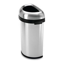 Simplehuman - simplehuman 60-Liter Semi-Round Brushed Stainless Steel Open Can - This semi-round open can has an open lid design that makes it easy to toss in trash on the go. Made using sturdy stainless steel with a brushed finish.