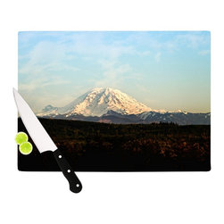 """Kess InHouse - Sylvia Cook """"Mt. Rainier"""" Mountain Photo Cutting Board (11"""" x 7.5"""") - These sturdy tempered glass cutting boards will make everything you chop look like a Dutch painting. Perfect the art of cooking with your KESS InHouse unique art cutting board. Go for patterns or painted, either way this non-skid, dishwasher safe cutting board is perfect for preparing any artistic dinner or serving. Cut, chop, serve or frame, all of these unique cutting boards are gorgeous."""