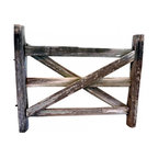 """Split Log Gate - From the town of Round Top, home of the best antique shows in the USA. This gate was at the entrance of one of the oldest homes on the square. Non-functioning. 56"""" w x 47""""t x 6"""" thick."""