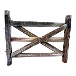 "Split Log Gate - From the town of Round Top, home of the best antique shows in the USA. This gate was at the entrance of one of the oldest homes on the square. Non-functioning. 56"" w x 47""t x 6"" thick."